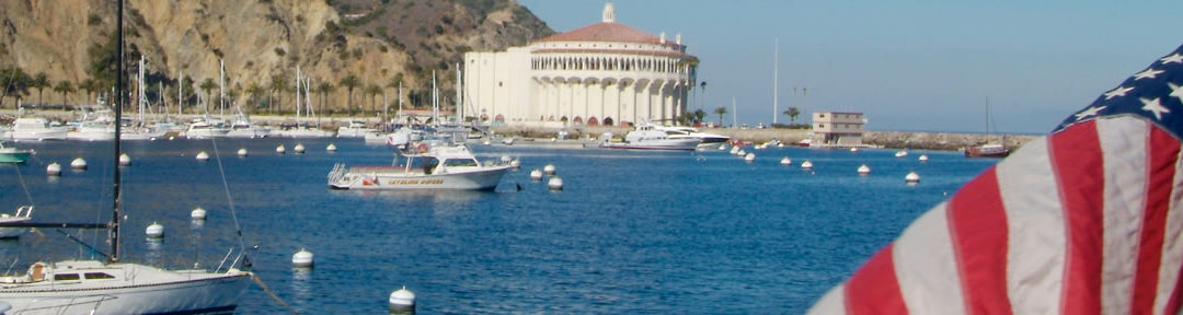 Casino and American flag in Avalon Harbor, Catalina Island